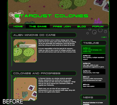 The old Stardust Colonies web site
